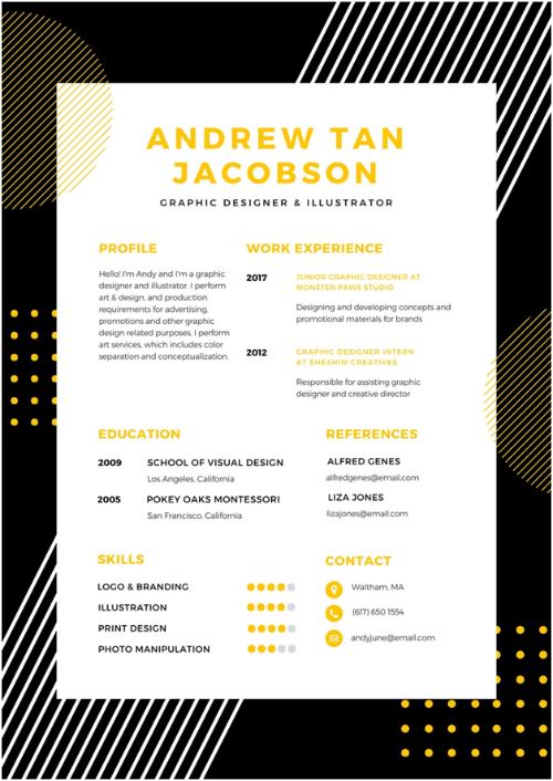 Resume for a Fresher - Example