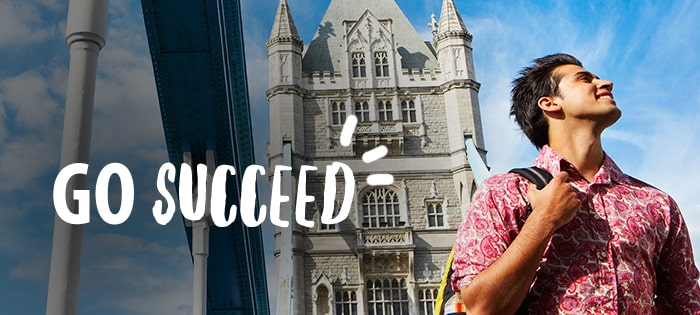 Inspirational photo of an Indian student studying in London titled Go Succeed